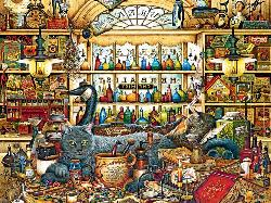 Elmer And Loretta (Cats of Charles Wysocki) Folk Art Jigsaw Puzzle