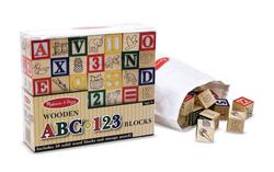 Wooden ABC/123 Blocks Educational Wooden Jigsaw Puzzle