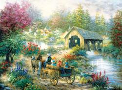 Merriment at the Covered Bridge Bridges Jigsaw Puzzle