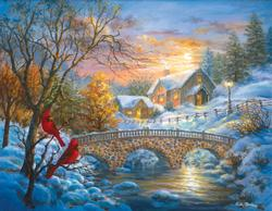 Winter Sunset Winter Jigsaw Puzzle