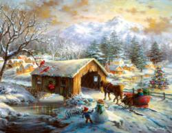 Over the Covered Bridge Christmas Jigsaw Puzzle