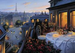 Paris Balcony Romantic Setting Jigsaw Puzzle