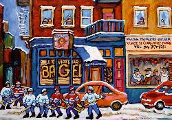St. Viateur Bagel & Hockey (Canadian Collection Canadienne) Street Scene Jigsaw Puzzle
