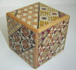 Japanese Puzzle Box - 2 Sun Cube 4 Step with drawer Brain Teaser