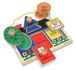 First Shapes Jumbo Knob Educational Chunky / Peg Puzzle