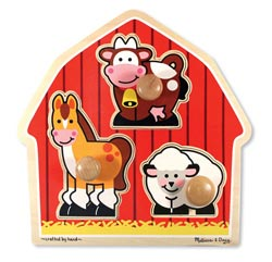 Barnyard Animals Jumbo Knob Farm Animals Peg Puzzle