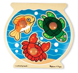 Fish Bowl Jumbo Knob Educational Chunky / Peg Puzzle