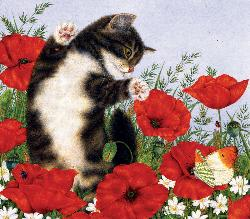 Poppies & Butterfly Kittens Jigsaw Puzzle