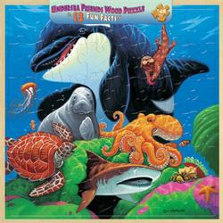 Wood Fun Facts - Undersea Friends II Marine Life Wooden Jigsaw Puzzle