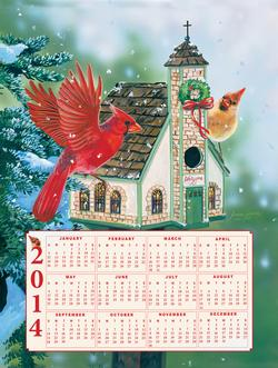 Cardinal Welcome - 2014 Calendar Winter Jigsaw Puzzle