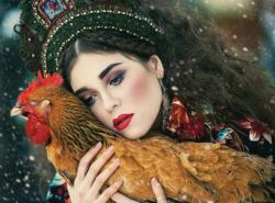Feathered Friend (Margarita Kareva Fairy Tales) - Scratch and Dent Chickens & Roosters Jigsaw Puzzle