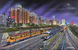 Chicago Nights Trains Jigsaw Puzzle