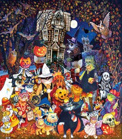 Cats and Dogs on Halloween Family Fun Large Piece