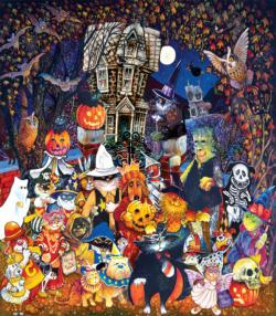 Cats and Dogs on Halloween Halloween Jigsaw Puzzle