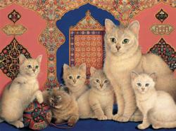 Catkin and her kittens (Ivory Cats) Cats Large Piece