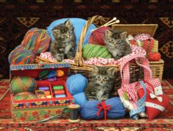 Kittens in the Sewing Basket Kittens Jigsaw Puzzle