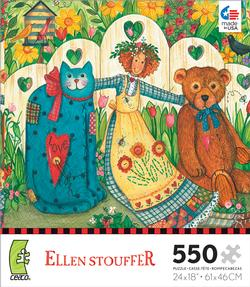 Girl and Friends (Ellen Stouffer) Folk Art Jigsaw Puzzle