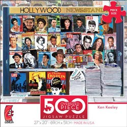 Hollywood Newsstand (500 Piece Oversized Puzzle) - Scratch and Dent Magazines and Newspapers Large Piece