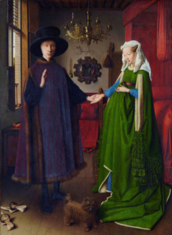 Portrait of Giovanni Arnolfini and his Wife Renaissance Wooden Jigsaw Puzzle
