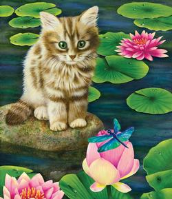 Lily's Pond Kittens Jigsaw Puzzle