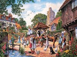 A Village Wedding Street Scene Jigsaw Puzzle
