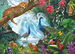 Peacock and Leopards Flowers Jigsaw Puzzle