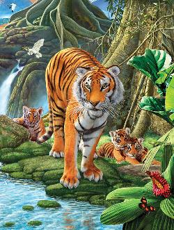 Tiger Two Waterfalls Jigsaw Puzzle
