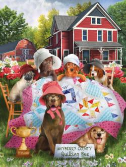 Smile Ladies Dogs Jigsaw Puzzle