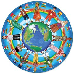 Children Around the World - Floor People Round Jigsaw Puzzle