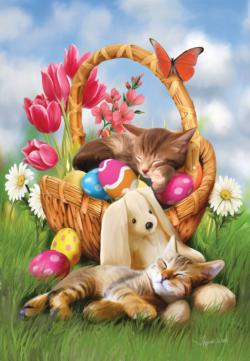 Hard Day with the Easter Bunny Kittens Jigsaw Puzzle