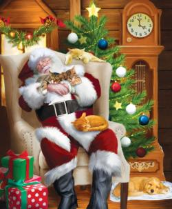 Santa and His Cats Christmas Jigsaw Puzzle