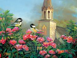 Wedding Bell Chickadees Flowers Jigsaw Puzzle