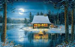 Lake Reflections Cottage/Cabin Jigsaw Puzzle