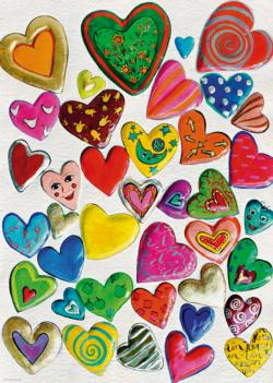 Mixed Crowd Hearts Jigsaw Puzzle
