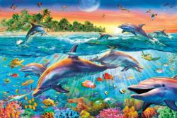 Tropical Dolphins  - Scratch and Dent Reptiles and Amphibians Jigsaw Puzzle