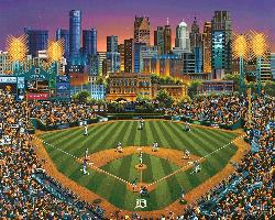 Detroit Tigers Folk Art Jigsaw Puzzle