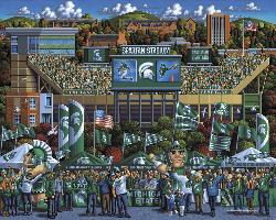 Michigan State Spartans Folk Art Jigsaw Puzzle