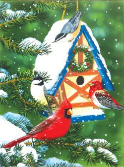 Birds at the Feeder Snow Jigsaw Puzzle
