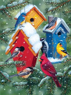 Winter Birdhouses Snow Jigsaw Puzzle