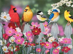 Songbirds and Cosmos Flowers Jigsaw Puzzle