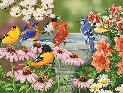Garden Birdbath Garden Jigsaw Puzzle