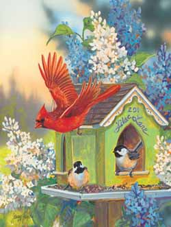 Lilac Lane Birds Jigsaw Puzzle