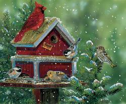 Bird Feed Store Snow Jigsaw Puzzle