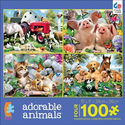4-in-1 Puzzle Pack Adorable Animals Farm Animals Children's Puzzles