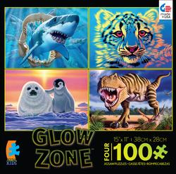 4-in-1 Puzzle Pack Glow Zone Wildlife Jigsaw Puzzle