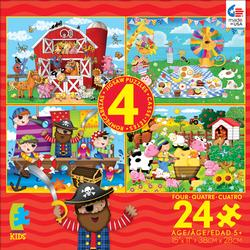 4-in-1 Puzzle Pack (Farm) Pirates Children's Puzzles