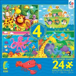 4-in-1 Puzzle Pack - 24pc Blue Cartoons Children's Puzzles