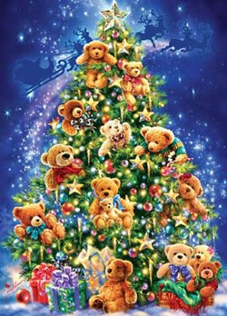Holiday Glitter - Teddy Bear Christmas Tree Christmas Jigsaw Puzzle