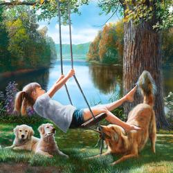 Flying Free (Best Friends) Lakes / Rivers / Streams Jigsaw Puzzle