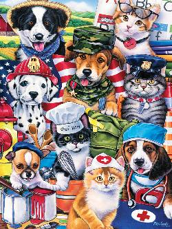 On the Job (Playful Paws) Baby Animals Large Piece